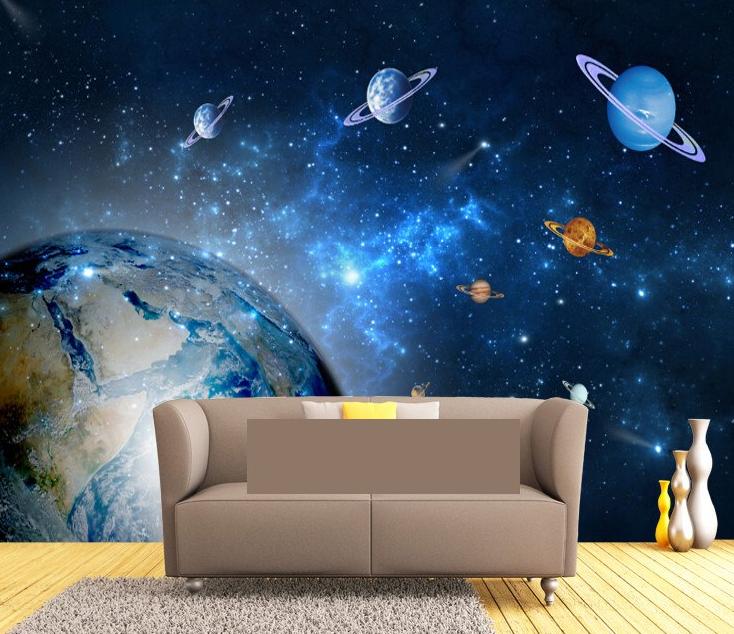 фотообои в интерьере гостинной с планетами