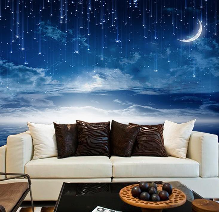 ночное небо на стене в зале