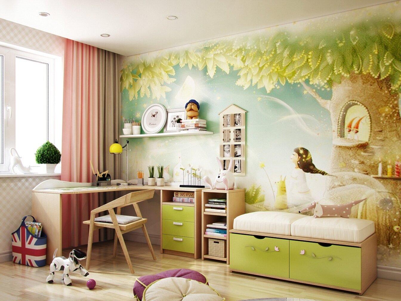 обои, фотообои, интерьер, детская комната
