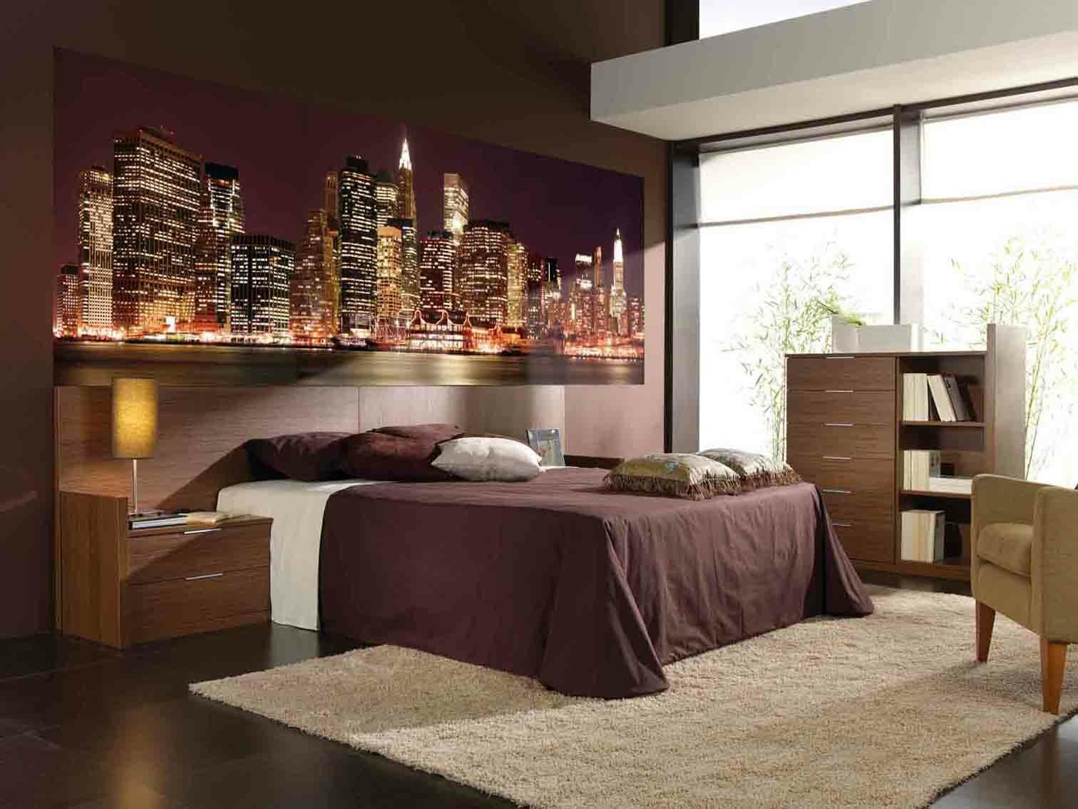 обои, город, Нью-Йорк, интерьер, спальня