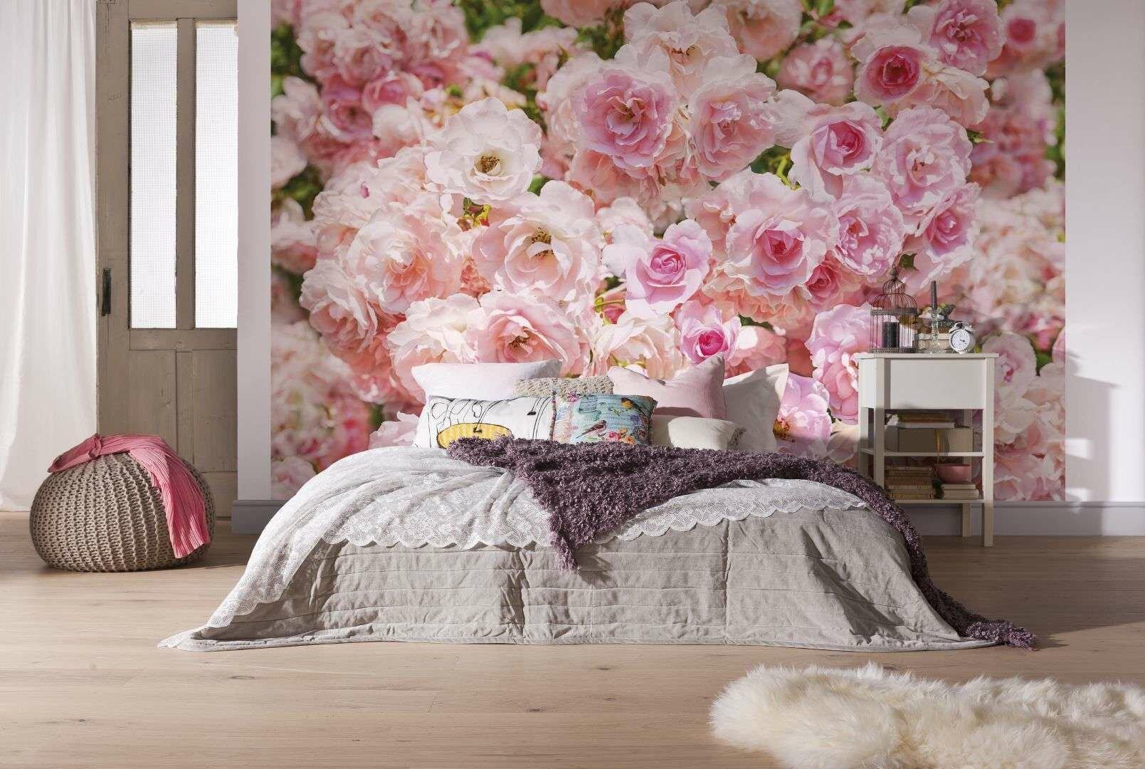 интерьер, фотообои, спальня, цветы, розы